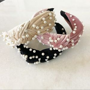 Pearl Knotted Headbands 3 Pack Black Pink Tan